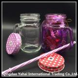 frasco de pedreiro 450ml de vidro colorido roxo