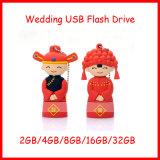 Mecanismo impulsor del flash del USB de la novia/del novio del regalo de boda del mecanismo impulsor de la pluma de la historieta