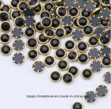 Glans Steen van de Bergkristallen van Strass van de Spijker van de Steen de Metaal Omrande Zilveren Goud Omrande (HF-SS10/3mm)