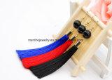 3개의 색깔 우아한 술 귀걸이는 오래 진주를 가진 술 하락 귀걸이를 스레드한다
