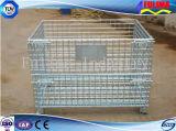 Contenitore/gabbia pieghevoli della maglia del filo di acciaio per la cremagliera industriale del magazzino (FLM-K-005)