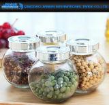 Vaso di vetro trasparente piano di su-Vendita per il dolce, miele, memoria della spezia