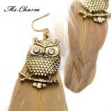 女性の方法宝石類のための様式金カラーフクロウの羽の長いイヤリング