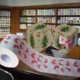 Le cadeau a estampé le tissu de salle de bains de Customzied de Noël de roulis de papier de toilette
