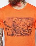 T-shirt estampé orange de l'été des hommes faits sur commande