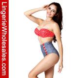 Retro Swimwear inferiore superiore di Waisted del bikini di Underwire del PUNTINO di Polka alto