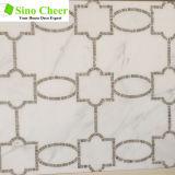 중국 백색 Waterjet 대리석, 모자이크 타일 패턴 공장