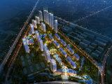 高品質の住宅区域の鳥瞰的な眺めのレンダリング