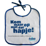 OEM Opbrengst drukte het Aangepaste Embleem Wit Katoen Terry Promotional Baby Bibs af