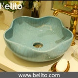 Fregadero de cerámica hecho a mano del cuarto de baño de cinco colores con el satinado agrietado (C-1038)