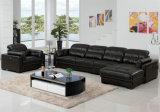 L Forma Brown Color del Sofá de Cuero, Muebles de Casa (909)