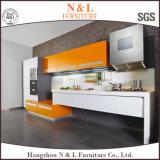 N&Lの現代白く光沢度の高いラッカーMDFの食器棚