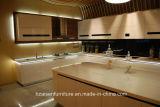 Mobilia con comando a motore aperta della cucina di disegno moderno di tocco