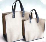 Bolso de compras no tejido de papel de la maneta de la lona del algodón del cuero del bolso de compras del regalo (X033)