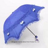 紫外線保護3折る耐久のSpitze Regenschirmのレースの傘