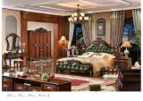 高貴な様式の寝室の家具、革寝室セット、ドレッサー、ワードローブ、夜立場(105)