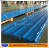 Hoja acanalada del hierro del material para techos del color azul