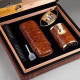 Humidor clásico del cigarro del cedro de la elegancia de Cohiba con el cortador, el alumbrador, el humectador y Siphot (ES-EB-008)