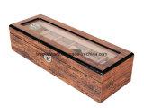 Rectángulo de regalo de madera de la visualización del embalaje del reloj de Brown del alto final popular del lustre
