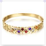 水晶宝石類の方法宝石類のステンレス鋼の腕輪(BR554)