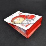 Sachet en plastique droit stratifié par aluminium comique de nourriture de sac de café de blocage de fermeture éclair de papier d'aluminium de poche de fond plat pour la noix