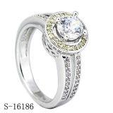 순은 & CZ 반지 다이아몬드 보석 약혼 반지