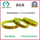 Debossed com o bracelete/Wristband macios do silicone de Colorfill do esmalte