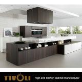 Technik-Walnuss-Furnier-Blattküche-Schrank mit Pantry- und Inselentwurf Tivo-0233h