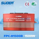 Macht Inverte van de Golf van de Sinus van Suoer 1500W 24V 230V de Intelligente Zuivere (fpc-H1500B)