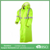 Novo casaco de chuva reversível longo em amarelo