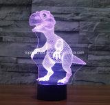 Таможня формирует бесшнуровую батарею - приведенный в действие свет ночи малышей датчика 3D СИД USB динозавра цвета светильника таблицы изменяя