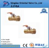 Vávula de bola de cobre amarillo aprisa conectada de la alta calidad ISO228 3/4 pulgada para el agua