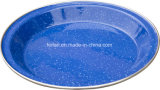 Plaque de riz d'émail/plaque de potage avec le décor pointillé de couleur
