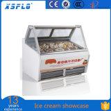 Escaparate directo del helado de la fábrica
