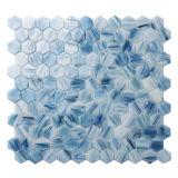 Mattonelle di mosaico di vetro della stanza da bagno della cucina della parete della piscina blu di vetro Hex del mosaico