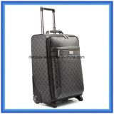 Caixa cheia da bagagem do curso do couro do plutônio da impressão, saco personalizado durável do trole do desengate de negócio com as duas rodas revolvendo