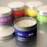 Alta calidad logotipo promocional perfumadas velas de la Ronda de estaño