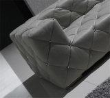 Insieme di cuoio italiano sezionale grigio del sofà del blocco per grafici di legno