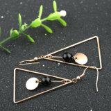方法女性宝石類のステンレス鋼の三角の黒い瑪瑙の長いイヤリング