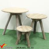 País hecha a mano 3 piernas en forma de pera Top Mesa decorativa de madera