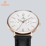 Relógio de couro resistente ocasional 72646 de quartzo da água dos relógios do negócio do Mens