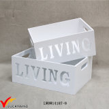 Antigüedades rectangular decorativo blanco cajas de maceta de madera