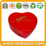 El rectángulo del estaño del chocolate del corazón para el metal del alimento puede empaquetando