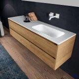 Moderne Blanc Solide Pierre de surface de bain Lavabo (B160531)