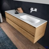Bacia de lavagem moderna Sólido Branco Pedra Superfície Casa de Banho (B160531)
