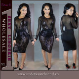Sexy Cocktail Formal Evening Prom Paillette Party Bandage Moda Mulheres Vestido