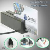 Tipo manual leitor da tira magnética do quiosque ISO7811/ISO7812 mini de cartão