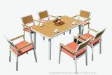 Pátio de dobramento da melhor pilha de madeira plástica de alumínio ao ar livre do metal da mobília do jardim que janta cadeiras