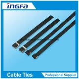 Überzogene Epoxidstrichleiter-einzelne Widerhaken-Verschluss-Edelstahl-Kabelbinder