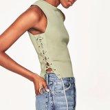 Damen arbeiten strickender Sleeveless Seite aufgeteilte Verband-Kurzschluss-Bluse um
